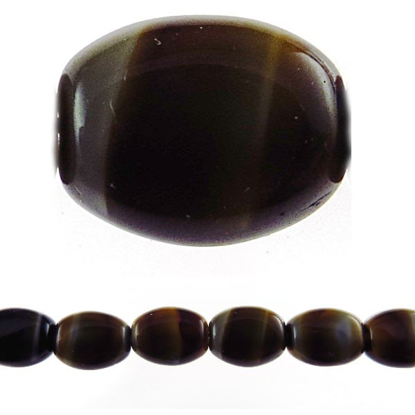 Czech Pressed Glass Flat Oval Bead 12x9mm, Brown Tiger (Pkg of 300 Pieces)