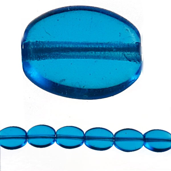 Czech Pressed Glass Flat Oval Bead 8x6mm, Aqua (Pkg of 300 Pieces)