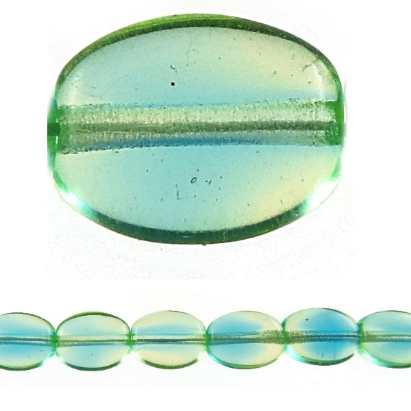 Czech Pressed Glass Flat Oval Bead 8x6mm, Aqua Green (Pkg of 300 Pieces)