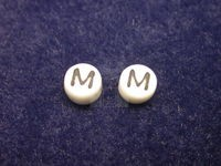 Czech Pressed Glass Alphabet Bead 6mm White Bead, Black Letter M (Pkg of 144 Pieces)