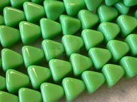Czech Pressed Glass Pyramid Bead 10x8mm,  Green Opaque (Pkg of 300 Pieces)