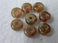 Czech Pressed Glass Round Smooth Spacer Bead 3x6mm, Marble Rose (Pkg of 300 Pieces)