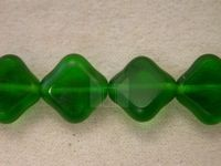 Czech Glass Table Cut Diamond Square Bead 12mm,  Green Matte Coated (Pkg of 300 Pieces)