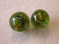 Czech Glass Foil Flower Lampwork Bead 10mm, Olive Green