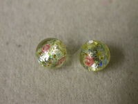Czech Glass Foil Flower Lampwork Bead 6mm, Citrine