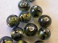 Czech Glass Venetian Style Gold Foiled Lampwork Bead 8mm, Brown Swirl Black Diamond