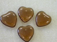 Czech Pressed Glass Heart Bead 15mm, Smoked Topaz (Pkg of 300 Pieces)
