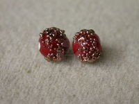 Czech Glass Dotted Rondel Lampwork Bead 6mm, Red Bronze