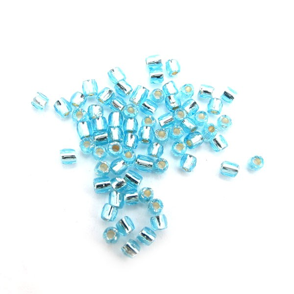 "Czech Seed Bead Bugle 3 Cut 10""- Light Aqua Silver Lined-Loose"