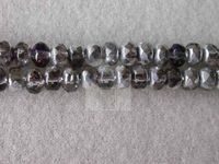 Czech Glass Fire Polished Gemstone Rondel Bead 5x3mm, Crystal Bermuda Coated