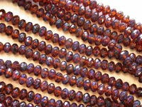 Czech Glass Fire Polished Gemstone Rondel Bead 5x3mm, Dark Topaz Marble Coated, (Pkg of 600 Pieces)