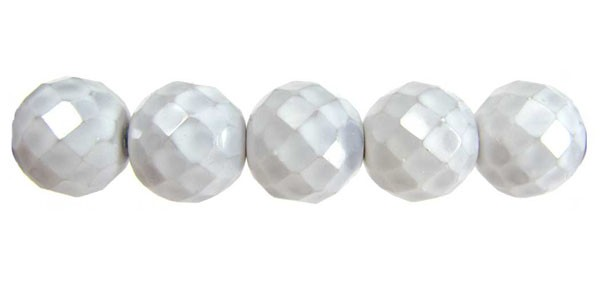 Czech Glass Fire Polished Round Bead 14mm, Opal Luster Gray, (Pkg of 300 Pieces)