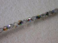 Czech Glass Fire Polished Round Bead 3mm, Crystal Vitrail