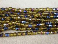 Czech Glass Fire Polished Round Bead 3mm, Topaz Azuro Coated, (Pkg of 600 Pieces)