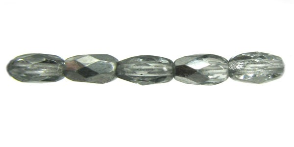 Czech Glass Fire Polished Round Bead 4mm, Crystal Silver Coated, (Pkg of 600 Pieces)