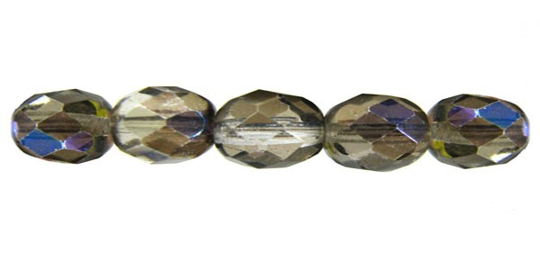 Czech Glass Fire Polished Round Bead 8mm, Crystal Zarit Coated