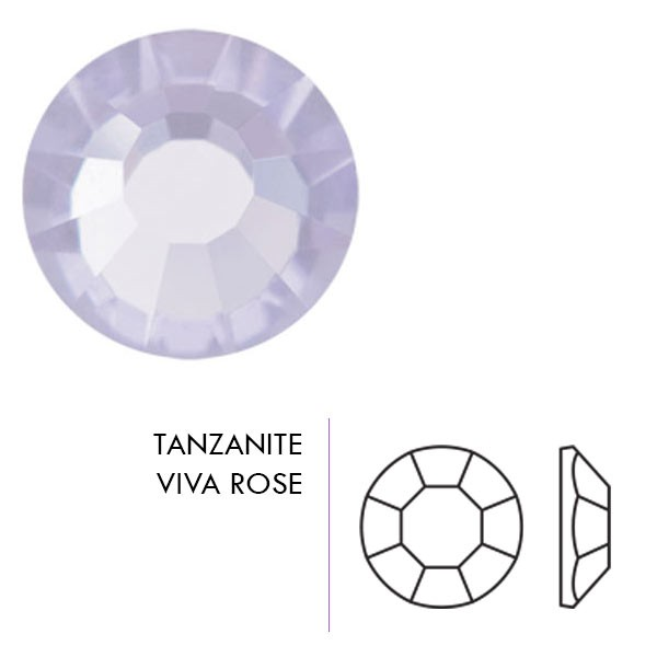 Preciosa Czech Crystal Sew-on Loch Rose, Tanzanite Silver Lined 4mm