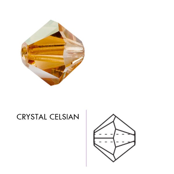 Preciosa Czech Crystal Bicone Bead, 3mm Crystal Celsian
