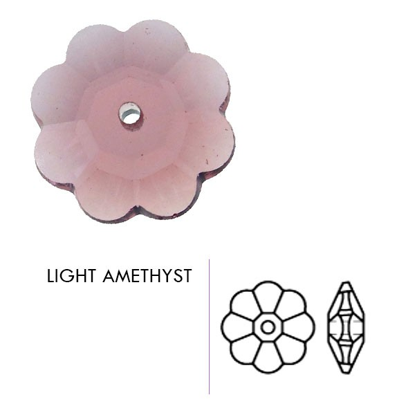 Preciosa Czech Crystal Sew-on Center Drill Rhinestone Flower, Light Amethyst 12mm Pkg. of 1