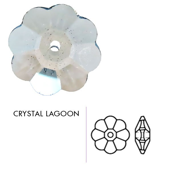 Preciosa Czech Crystal Sew-on Center Drill Rhinestone Flower, Crystal Lagoon 8mm Pkg. of 1