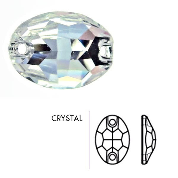 Preciosa Czech Crystal Sew On Oval Stone, Crystal, 10x7mm