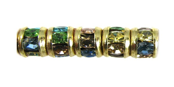 Czech Rhinestone Rondelle Light Multi Color, Gold Setting
