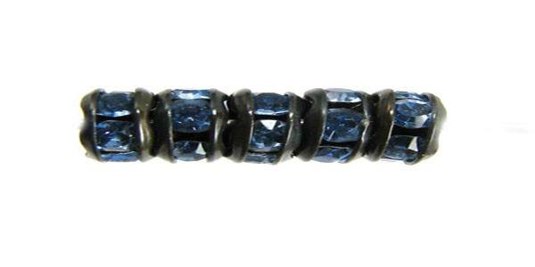 Czech Rhinestone Rondelle Light  Sapphire, Black Setting