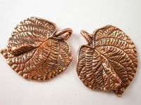 Antique Copper Pewter LG Leaf Pendant