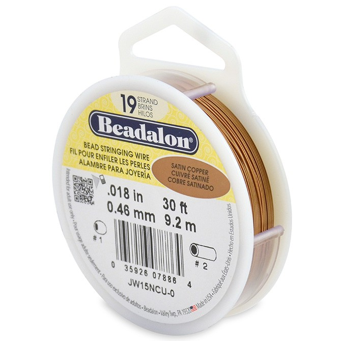 19 Strand Stainless Steel Bead Stringing Wire, .018 in (0.46 mm), Satin Copper, 30 ft (9.2 m)