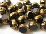 Czech Round 3 Cut Bead 8mm, Jet Black Bronze