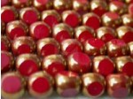 Czech Round 3 Cut Bead 8mm, Red Opaque Bronze
