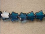 Czech Glass Table Cut Star Beads 8mm, Aqua Bronze (Pkg of 300 Pieces)