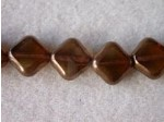 Czech Glass Table Cut Diamond Square Bead 12mm,  Smoked Topaz Bronze (Pkg of 300 Pieces)