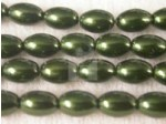 Czech Glass Oval Pearl Bead 8x5mm, Green (Pkg of 300 Pieces)