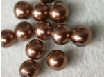 Czech Glass Half Drilled Pearl Bead 8mm, Copper (Pkg of 300 Pieces)