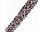 Czech Linked Rosary Chain, 4mm Light Amethyst AB Beads, Black Linked Chain, (Sold by the Meter)