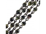Czech Linked Rosary Chain, 4mm Grey Tiger Faceted Beads, Black Linked Chain, (Sold by the Meter)