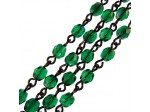 Czech Linked Rosary Chain, 4mm Emerald Azuro Faceted Beads, Black Linked Chain, (Sold by the Meter)