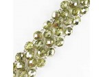 Czech Linked Rosary Chain, 8mm Mirror Peridot Fire Polished Bead, Silver Linked Chain, (Sold by the Meter)