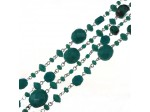 Czech Linked Rosary Chain, Fire Polished Mixed Shape Green Turquoise Beads, Silver Linked Chain, (Sold by the Meter)