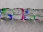 Czech Glass Fire Polished Barrel Bead 7x8mm, Clear Rainbow Stripe, (Pkg of 300 Pieces)