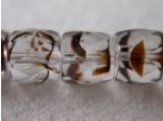 Czech Glass Fire Polished Barrel Bead 7x8mm, Clear Tortoise, (Pkg of 300 Pieces)