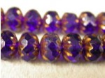 Czech Glass Fire Polished Fancy Gemstone Bead 10x7mm, Cobalt Bronzed Edged
