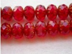 Czech Glass Fire Polished Fancy Gemstone Bead 10x7mm, Siam Bronze Edged