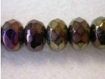 Czech Glass Fire Polished Gemstone Rondel Bead 11x7mm, Brown Iris, (Pkg of 300 Pieces)
