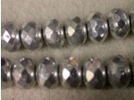 Czech Glass Fire Polished Gemstone Rondel Bead 11x7mm, Silver, (Pkg of 300 Pieces)