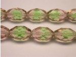 Czech Glass Fire Polished Oval Bead 15x10mm, Lime Peach Combo, (Pkg of 150 Pieces)