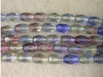 Czech Glass Fire Polished Oval Bead 6x4mm, Jonquil Amethyst Sapphire Combo, (Pkg of 300 Pieces)