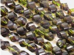 Czech Glass Fire Polished Swirl Bead 10x8mm, Amethyst Olive Green Combo, (Pkg of 300 Pieces)