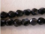 Czech Glass Fire Polished Swirl Bead 8x6mm, Jet Black